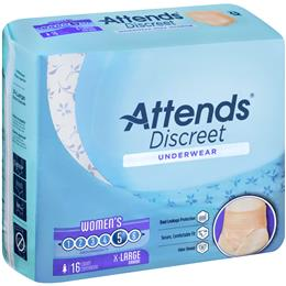 ADUF40 - Attends Discreet Underwear, XL, Female, 16 count (x4) - Image Number 103525